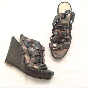 Coach Mallorie leather platform wedge sandals 6.5